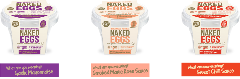Naked Eggs in three flavours